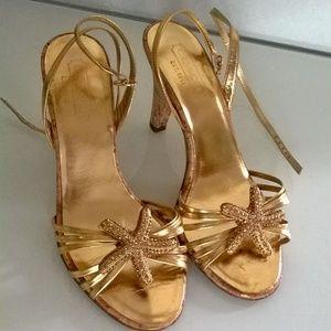 Coach Gold Metallic Cork Heel Sandals Size 7